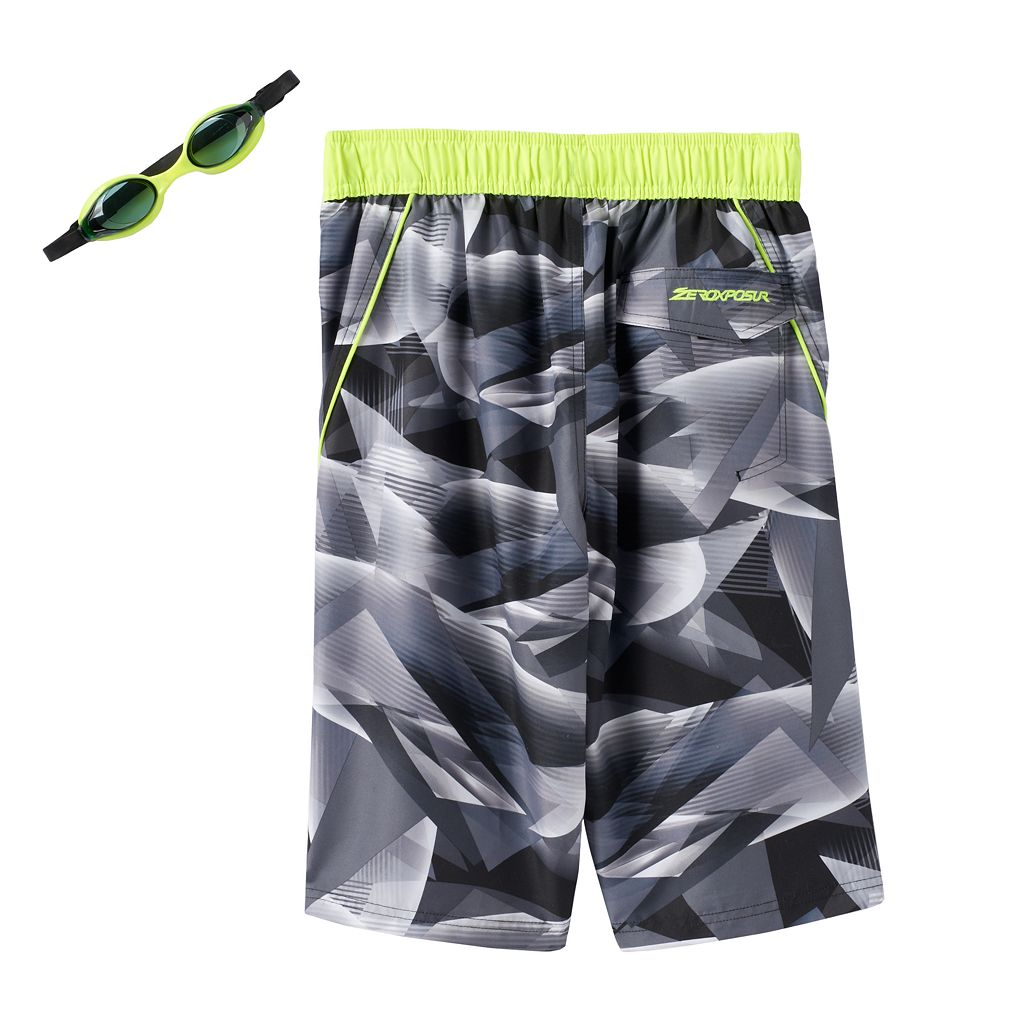 Boys 8-20 ZeroXposur Geometric Swim Trunks with Goggles