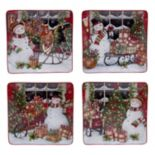 Certified International Snowman Sleigh 4-pc. Dinner Plate Set