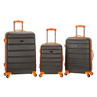 Rockland Melbourne Textured 3 pc Hardside Spinner Luggage Set