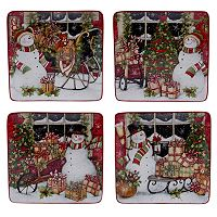Certified International Snowman Sleigh 4-pc. Dessert Plate Set