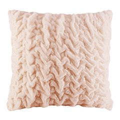 Madison Park Ruched Faux Fur Euro Throw Pillow