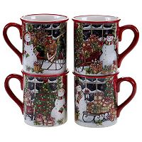 Certified International Snowman Sleigh 4-pc. Mug Set