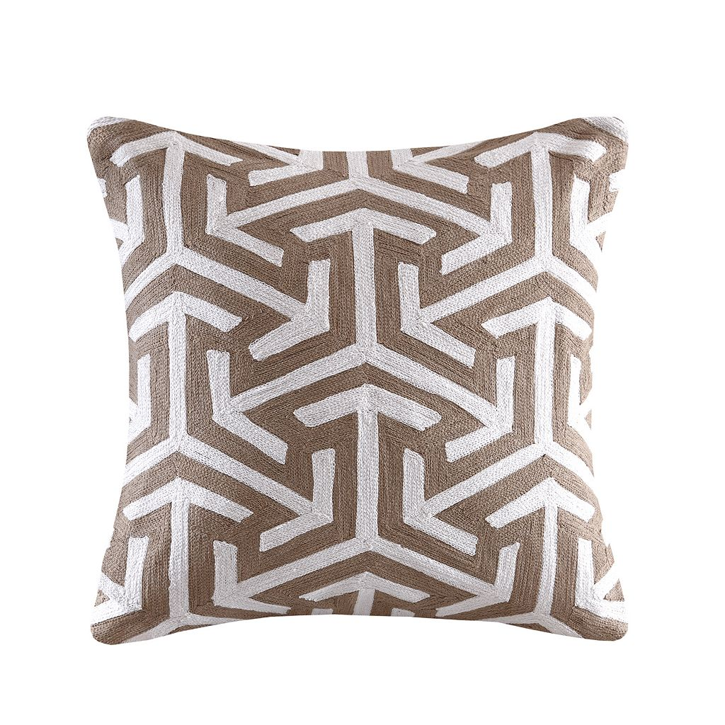 Madison Park Crewel Embroidered Geo Throw Pillow
