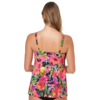Women's Upstream Printed High-Low Tankini Top