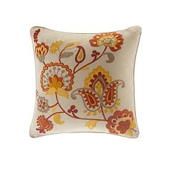 Madison Park Golden Harvest Embroidered Throw Pillow