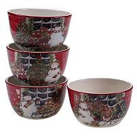 Certified International Snowman Sleigh 4-pc. Ice Cream Bowl Set