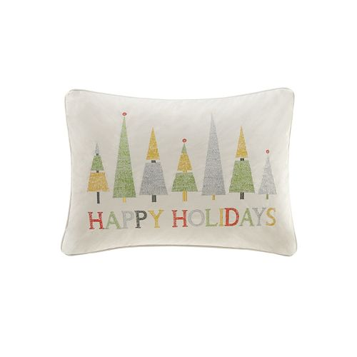 Madison Park ''Happy Holidays'' Oblong Throw Pillow