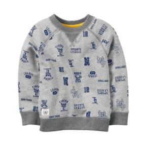Toddler Boy Carter's Gray Sports Fan Printed Pullover Top