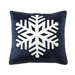 Madison Park Velvet Snowflake Throw Pillow