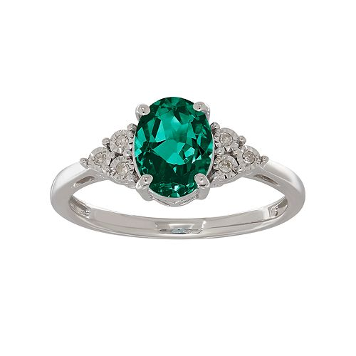 Sterling Silver Lab-Created Emerald & Diamond Accent Oval Oval Ring
