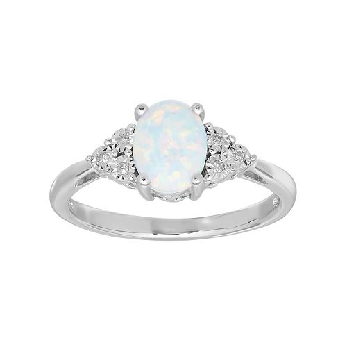 Sterling Silver Lab-Created Opal & Diamond Accent Oval Ring