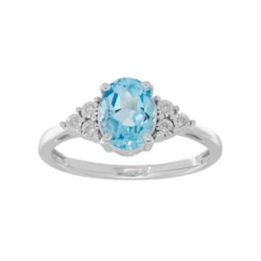 Sterling Silver Aquamarine & Diamond Accent Oval Ring