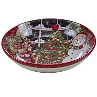 Certified International Snowman Sleigh Pasta Serving Bowl