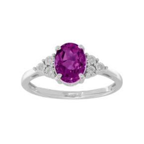 Sterling Silver Amethyst & Diamond Accent Oval Ring
