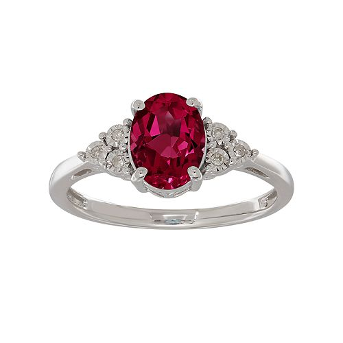 Everlasting Silver Gem Sterling Silver Lab-Created Ruby & Diamond Accent Oval Ring