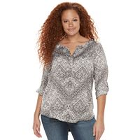 Plus Size Rock & Republic® Roll-Tab Mixed-Media Shirt