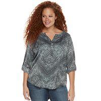 Plus Size Rock & Republic® Roll-Tab Mixed-Media Shirt