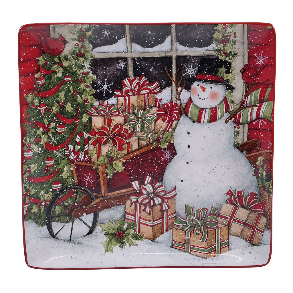 Certified International Snowman Sleigh Square Platter
