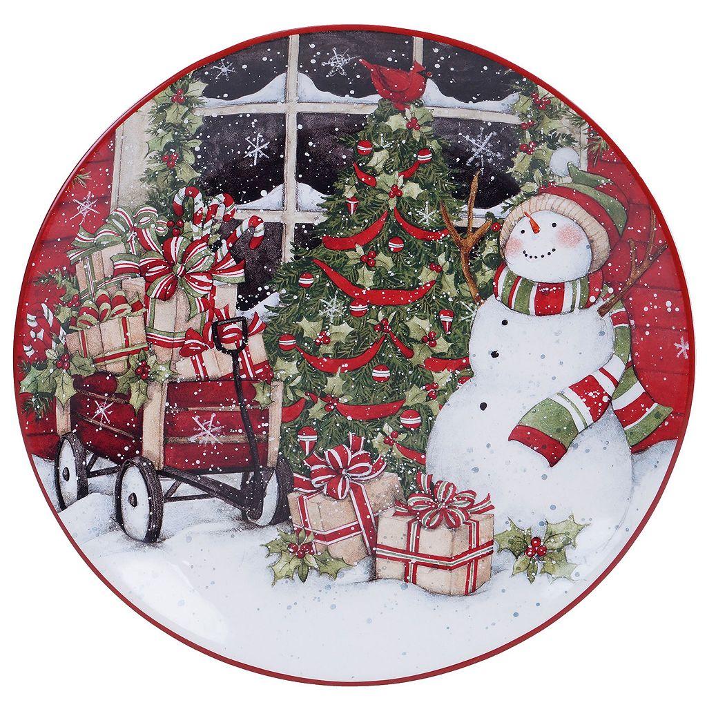 Certified International Snowman Sleigh Round Platter