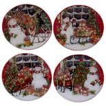 Certified International Snowman Sleigh Canape Plate Set
