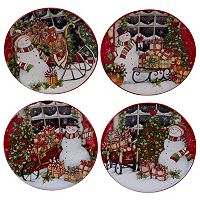 Certified International Snowman Sleigh Canape Plate Set