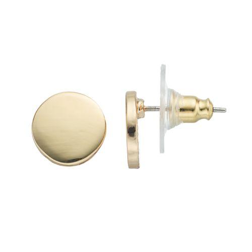 LC Lauren Conrad Gold Tone Disc Stud Earrings