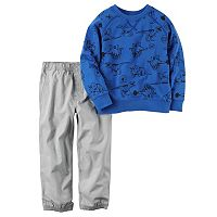 Toddler Boy Carter's Dinosaur Print French Terry Pullover Top & Poplin Jogger Pants Set