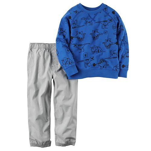 Toddler Boy Carter's Dinosaur Print French Terry Pullover Top & Poplin Jogger Pants Set