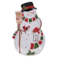 Certified International Snowman Sleigh 3D Platter