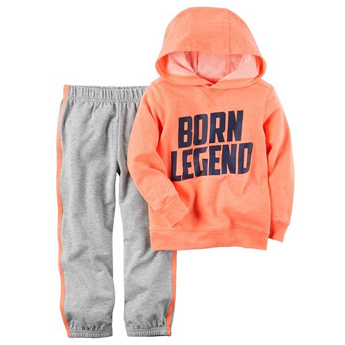 "Toddler Boy Carter's ""Born Legend"" Neon French Terry Hoodie & Jogger Pants Set"