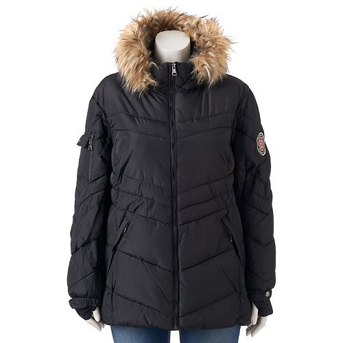 703ba7771f6 Juniors' Plus Size Madden Girl Hooded Faux-Fur Puffer Jacket
