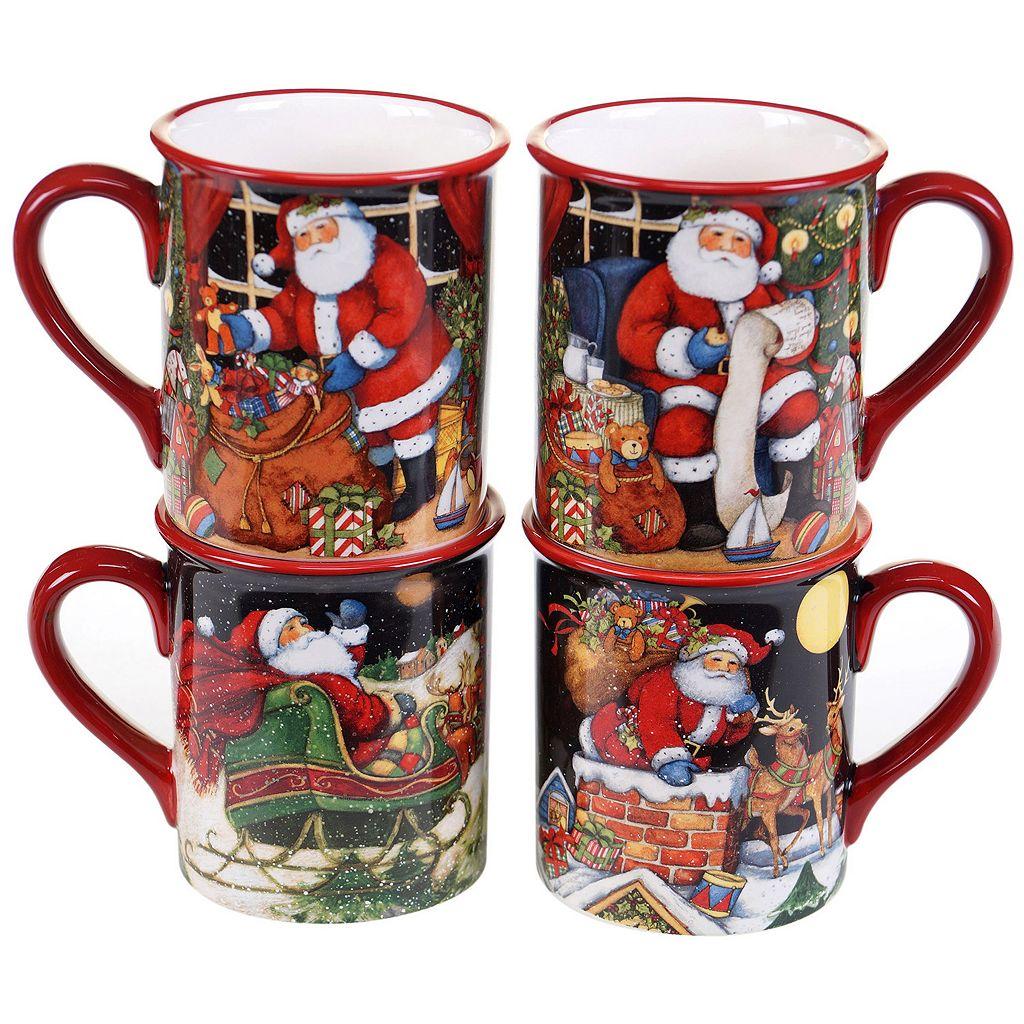 Certified International The Night Before Christmas 4-pc. Mug Set