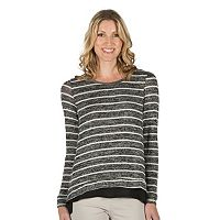 Women's Larry Levine Striped Mock-Layer Vented Top