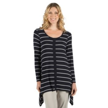 Women's Larry Levine Striped Sharkbite-Hem Top