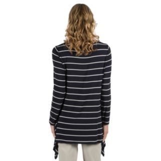 Women's Larry Levine Striped Sharkbite-Hem Top