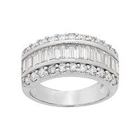Emotions Sterling Silver Cubic Zirconia Multi Row Ring