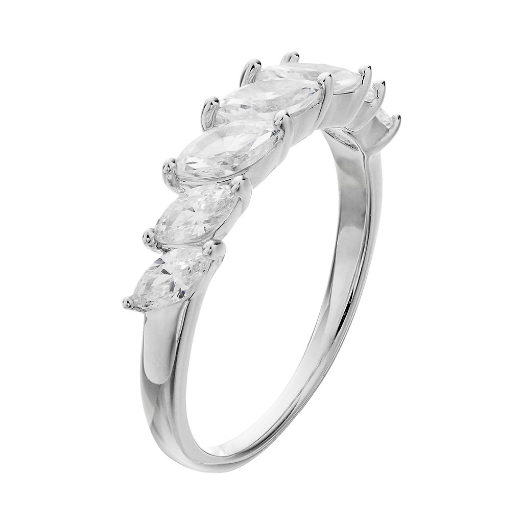 Emotions Sterling Silver Cubic Zirconia Marquise Ring
