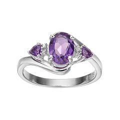 Sterling Silver Amethyst & Diamond Accent 3-Stone Ring