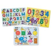 Disney Alphabet, Numbers, Shapes & Colors Peg Puzzle Bundle by Melissa & Doug