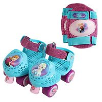 Disney's Frozen Anna & Elsa Youth Glitter Roller Skates & Knee Pads Set by PlayWheels
