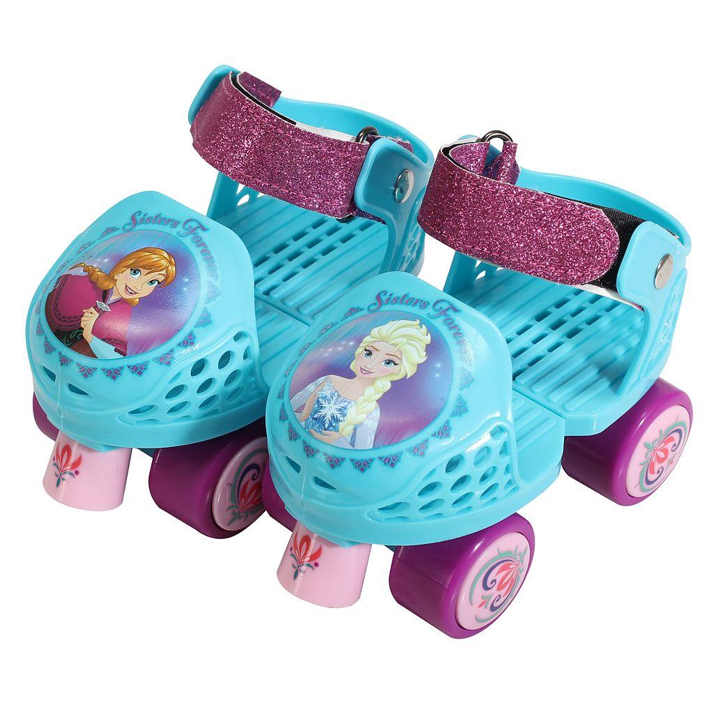 Disney's Frozen Anna & Elsa Youth Glitter Roller Skates & Knee Pads Set by PlayWheels
