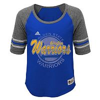 Girls 7-16 adidas Golden State Warriors High-Low Raglan Tee