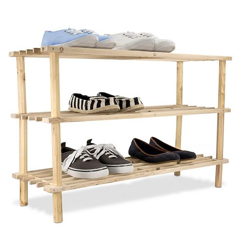Home Basics 3-Tier Wooden Shoe Rack