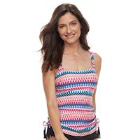 Women's Croft & Barrow® Tummy Slimmer D-Cup Side-Tassel Tankini Top