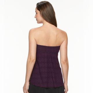 Women's Croft & Barrow® Crochet Flyaway Bandeaukini Top
