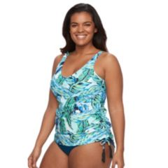 Plus Size Croft & Barrow® Tummy Slimmer & Long Torso Ruched Tankini Top