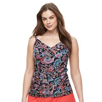 Plus Size Croft & Barrow® Bust Enhancer Twist-Front Tankini top