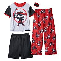 Boys 4-12 Up-Late Ninja 3-Piece Pajama Set