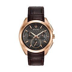 Bulova Men's CURV Leather Chronograph Watch - 97A124