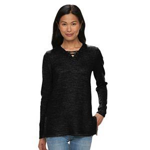 Women's Croft & Barrow® Lace-Up Textured Sweater Tunic